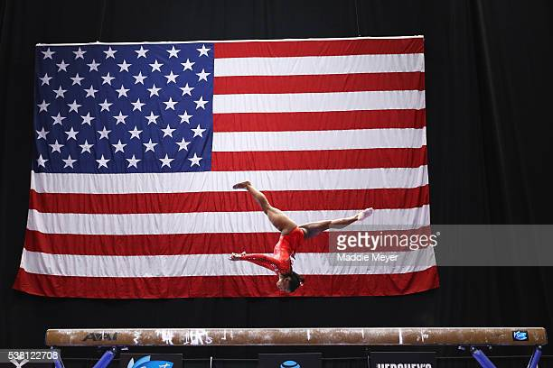 Simone Biles competes on the balance beam during the Sr Women's 2016 Secret US Classic at the XL Center on June 4 2016 in Hartford Connecticut