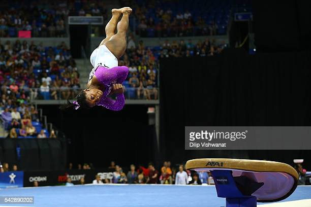 Simone Biles competes on the vault during day one of the 2016 PG Gymnastics Championships at Chafitz Arena on June 24 2016 in St Louis Missouri