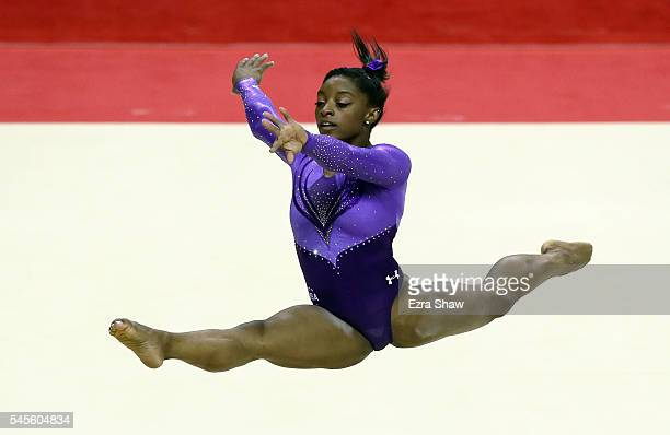 Simone Biles is competes in the floor exercise during Day 1 of the 2016 US Women's Gymnastics Olympic Trials at SAP Center on July 8 2016 in San Jose...