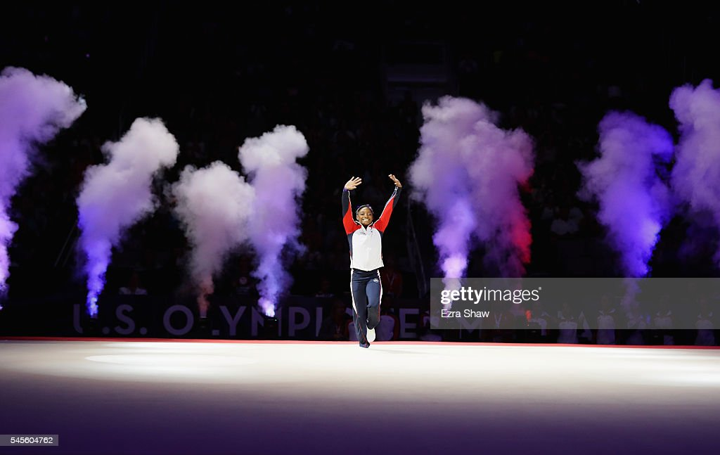 Simone Biles is introduced to the crowd during Day 1 of the 2016 U.S. Women's Gymnastics Olympic Trials at SAP Center on July 8, 2016 in San Jose, California.