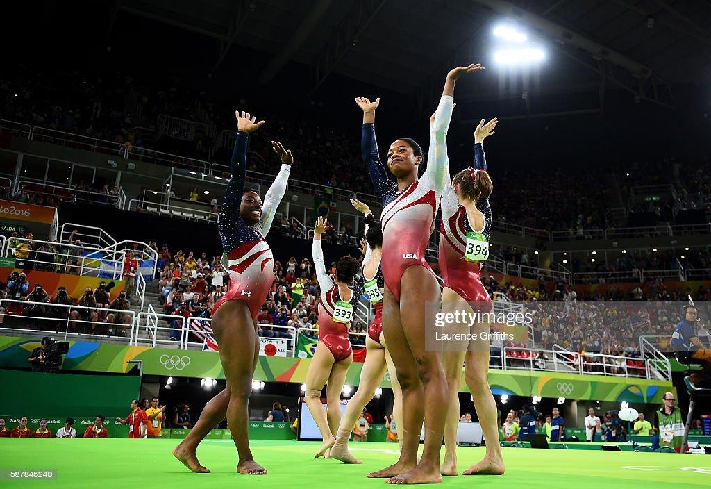 Simone Biles, Lauren Hernandez, Alexandra Raisman, Gabrielle Douglas and Madison Kocian of the United States celebrate winning the gold medal during the Artistic Gymnastics Women's Team Final on Day 4 of the Rio 2016 Olympic Games at the Rio Olympic Arena on August 9, 2016 in Rio de Janeiro, Brazil.