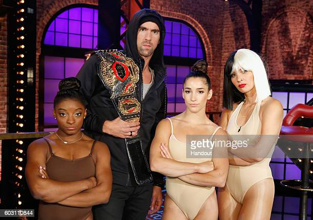 Simone Biles Michael Phelps Aly Raisman and Olivia Munn perform onstage during Spike TV's Lip Sync Battle All Stars Live on September 11 2016 in...