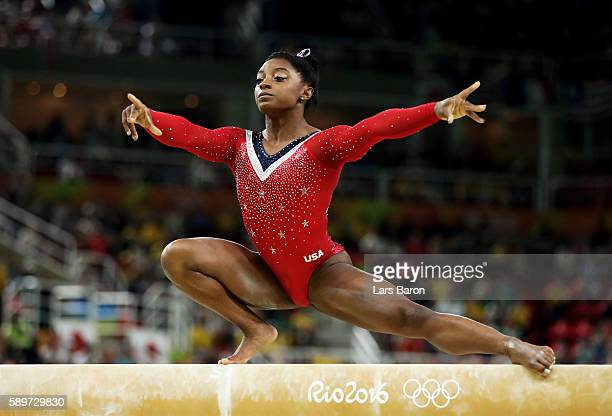 Simone Biles of the United States competes in the Balance Beam Final on day 10 of the Rio 2016 Olympic Games at Rio Olympic Arena on August 15 2016...