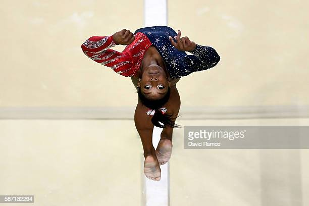 Simone Biles of the United States competes on the balance beam during Women's qualification for Artistic Gymnastics on Day 2 of the Rio 2016 Olympic...