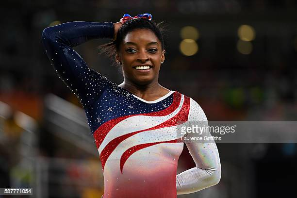 Simone Biles of the United States competes on the floor during the Artistic Gymnastics Women's Team Final on Day 4 of the Rio 2016 Olympic Games at...