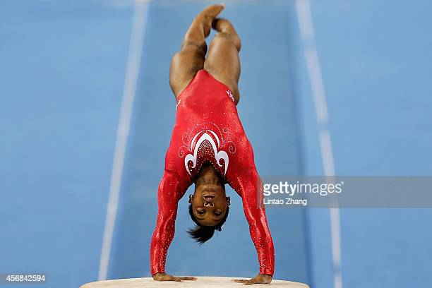 Simone Biles of the United States competes on the vault during the Women's Team Final on day two of the 45th Artistic Gymnastics World Championships...