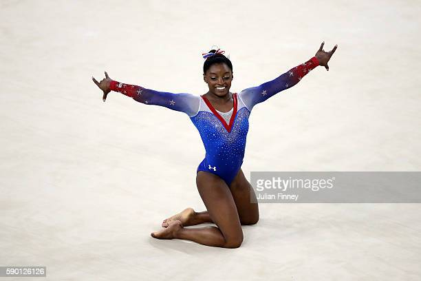 Simone Biles of the United States competes on the Women's Floor final on Day 11 of the Rio 2016 Olympic Games at the Rio Olympic Arena on August 16...