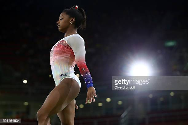 Simone Biles of the United States performs on the beam during the Gymnastics Rio Gala on Day 12 of the 2016 Rio Olympic Games on August 17 2016 in...