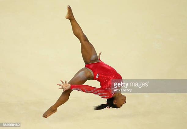 Simone Biles of the United States practices a floor routine during an artistic gymnastics training session on August 4 2016 at the Arena Olimpica do...