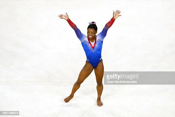 Simone Biles of the United States reacts after competing on the Women's Floor final on Day 11 of the Rio 2016 Olympic Games at the Rio Olympic Arena...