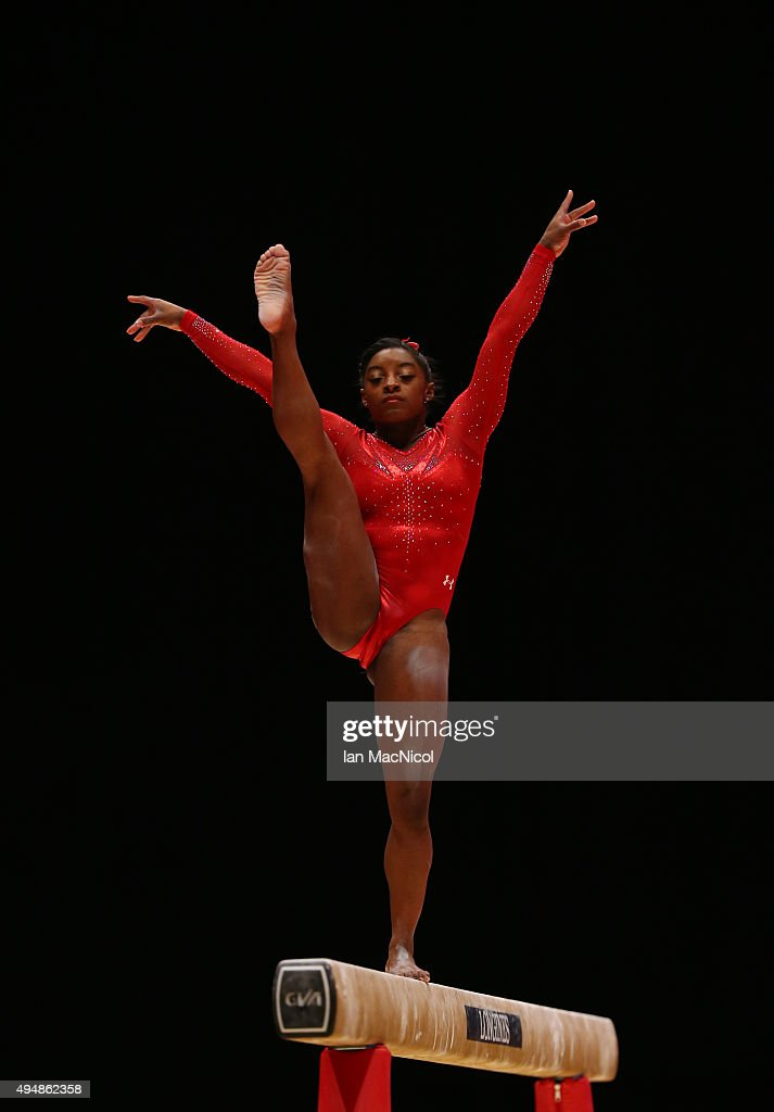 Simone Biles of the US competes on the Beam during day seven of World Artistic Gymnastics Championships at The SSE Hydro on October 29 2015 in...