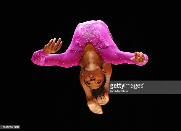Simone Biles of United States competes on the Beam during day ten of The World Artistic Gymnastics Championships at The SSE Hydro on November 01 2015...
