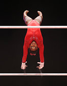 Simone Biles of United States competes on the Uneven Bars during day seven of World Artistic Gymnastics Championships at The SSE Hydro on October 29...