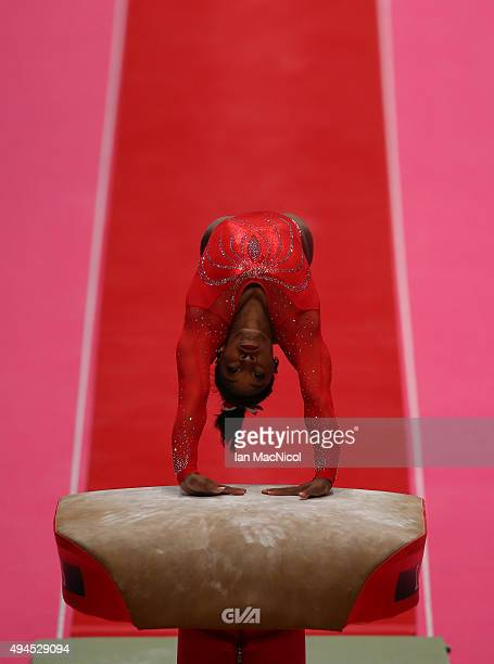 Simone Biles of United States competes on the Vault during day five of World Artistic Gymnastics Championship at The SSE Hydro on October 27 2015 in...