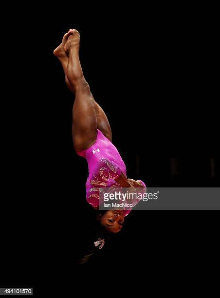Simone Biles of United States competes on the Vault during day Two of the 2015 World Artistic Gymnastics Championships at The SSE Hydro on October 24...