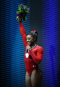 Simone Biles of United States poses with her Gold medal during day seven of World Artistic Gymnastics Championships at The SSE Hydro on October 29...
