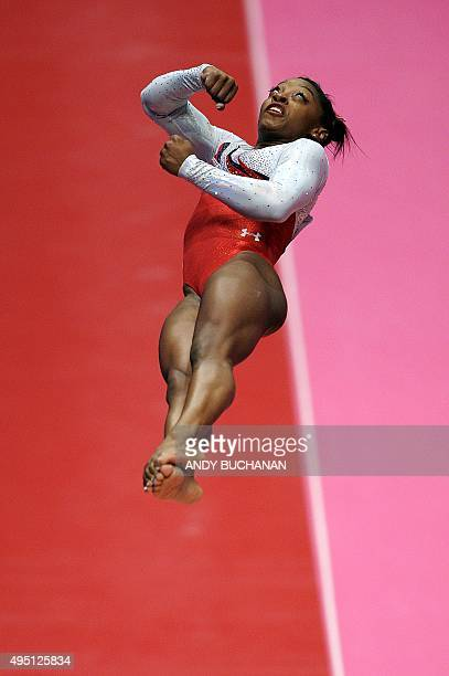 Simone Biles of US performs on the vault during day one of the Women Men's Apparatus Final at the 2015 World Gymnastics Championships in Glasgow...