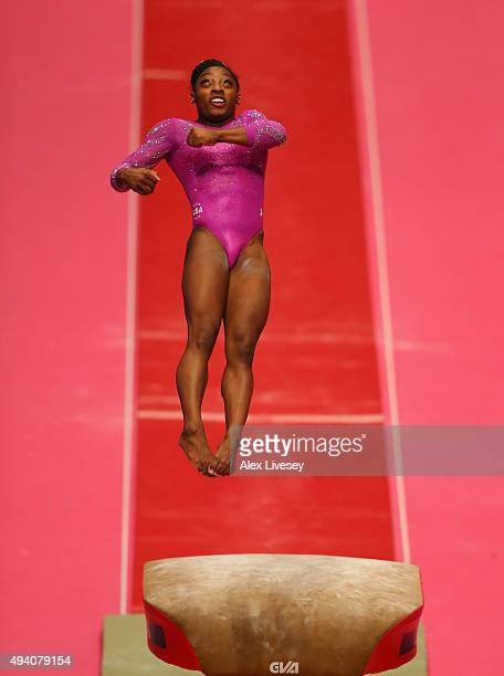 Simone Biles of USA competes in the Vault during Day Two of the 2015 World Artistic Gymnastics Championships at The SSE Hydro on October 24 2015 in...