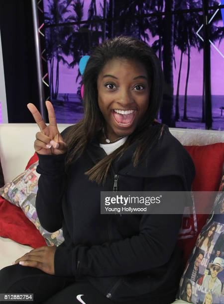 Simone Biles visits the Young Hollywood Studio on July 11 2017 in Los Angeles California