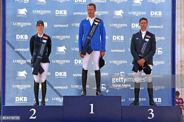 Simone Blum Christian Ahlmann and Leopold van Asten during the Global Jumping at Longines Global Champions Tour at Sommergarten unter dem Funkturm on...