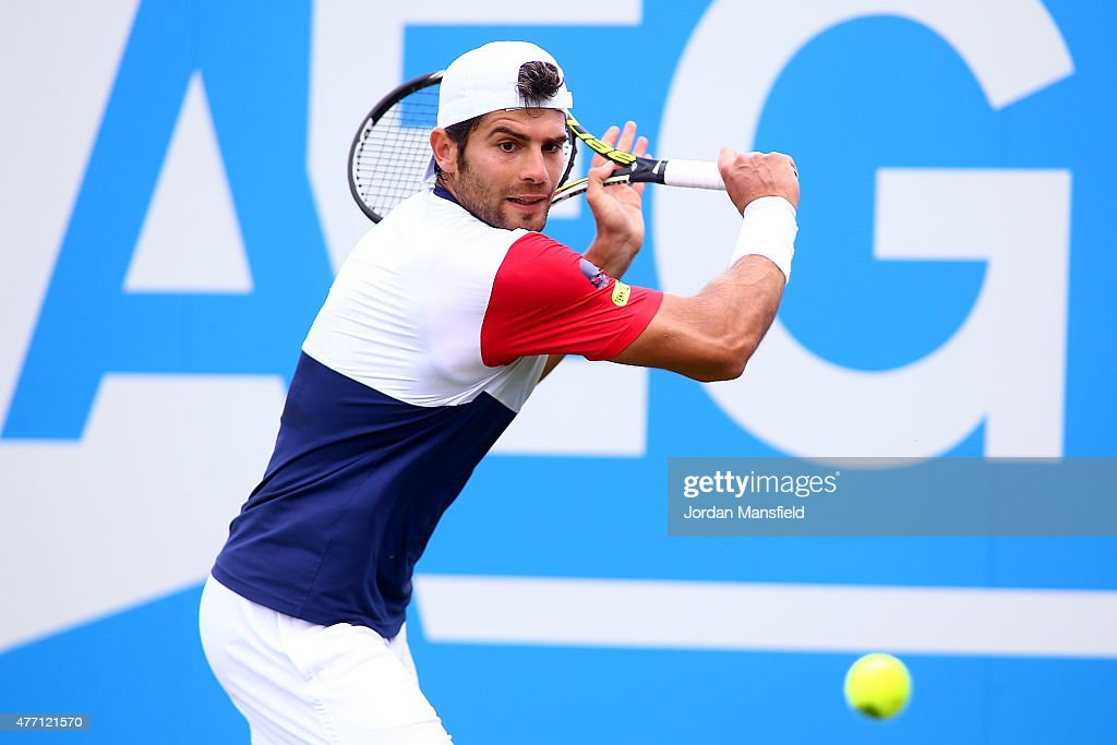 Simone Bolelli of Italy plays a backhand during his Qualification match of the Aegon Championships against Edouard Roger-Vasselin of France at Queens Club on June 14, 2015 in London, England.