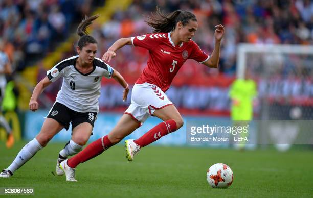 Simone Boye Sørensen of Denmark and Sarah Zadrazil of Austria during the UEFA Women's EURO 2017 Semifinal match between Austria and Denmark at Rat...