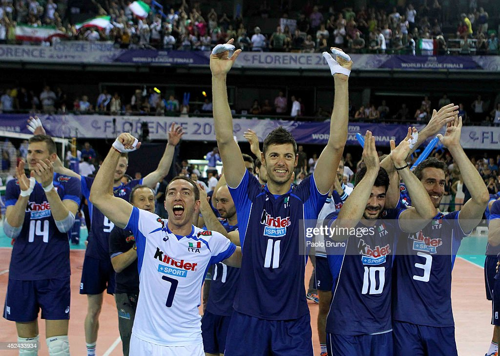 <a gi-track='captionPersonalityLinkClicked' href=/galleries/search?phrase=Simone+Buti&family=editorial&specificpeople=6355462 ng-click='$event.stopPropagation()'>Simone Buti</a> #11 with his teammates of Italy celebrate the victory after the FIVB World League Final Six match for the third place between Iran and Italy at Mandela Forum on July 20, 2014 in Florence, Italy.