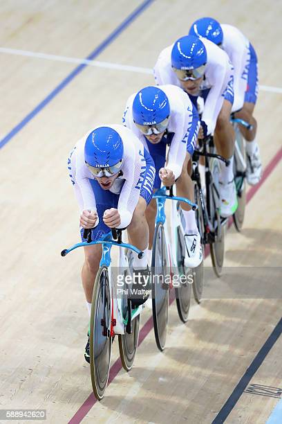 Simone Consonni Filippo Ganna Francesco Lamon and Michele Scartezzini of Italy competes in the Men's Team Pursuit Final for 56th place on Day 7 of...