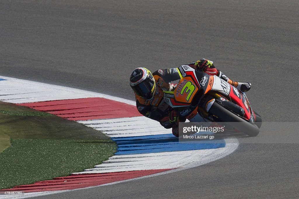 Simone Corsi of Italy and Athina Forward Racing rounds the bend during the MotoGP Netherlands - Free Practice at on June 25, 2015 in Assen, Netherlands.