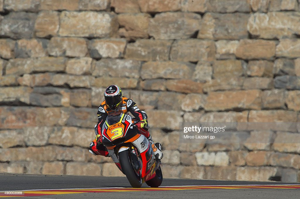 Simone Corsi of Italy and Forward Racing heads down a straight during the MotoGP of Spain - Free Practice at Motorland Aragon Circuit on September 25, 2015 in Alcaniz, Spain.