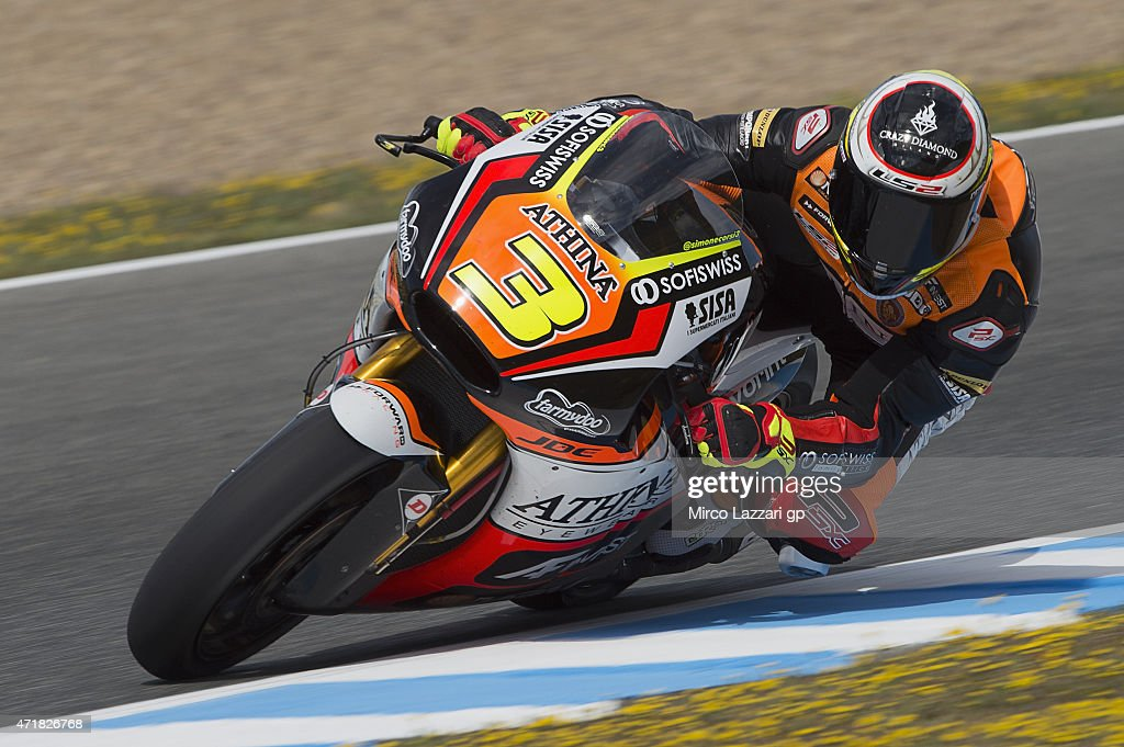 Simone Corsi of Italy and Forward Racing rounds the bend during the MotoGp of Spain - Free Practice at Circuito de Jerez on May 1, 2015 in Jerez de la Frontera, Spain.