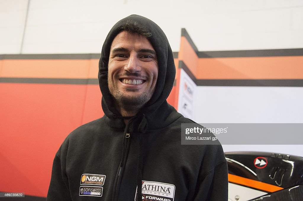 Simone Corsi of Italy and Forward Racing smiles in box during the MotoGp Red Bull U.S. Grand Prix of The Americas - Free Practice at Circuit of The Americas on April 10, 2015 in Austin, Texas.