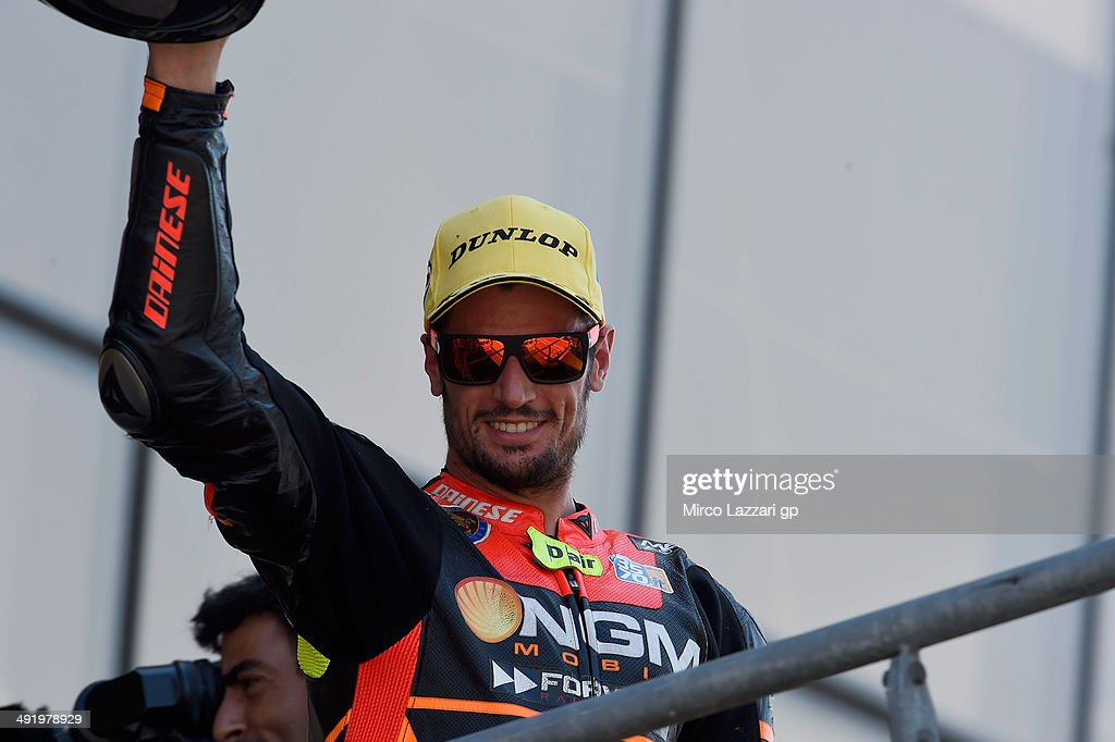 Simone Corsi of Italy and NGM Forward Racing celebrates the second place on the podium at the end of the Moto2 race during the MotoGp Of France - Race on May 18, 2014 in Le Mans, France.