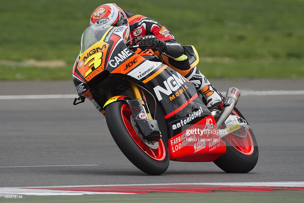 Simone Corsi of Italy and NGM Forward Racing heads down a straight during the MotoGp Of Great Britain - Qualifying at Silverstone Circuit on August 30, 2014 in Northampton, United Kingdom.