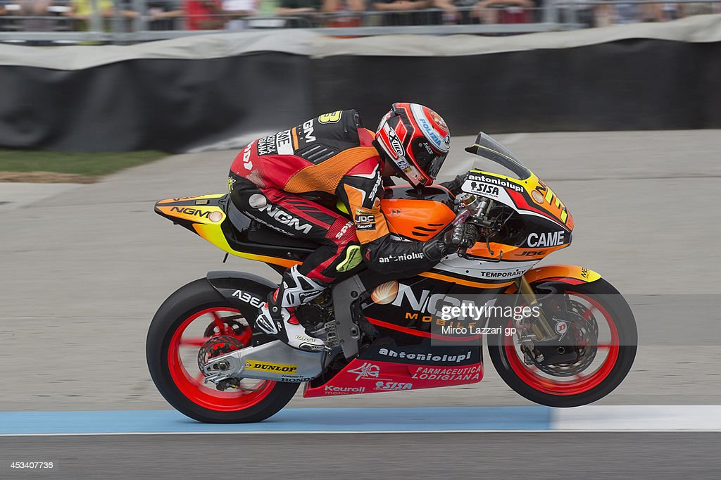 Simone Corsi of Italy and NGM Forward Racing rounds the bend during the MotoGp Red Bull U.S. Indianapolis Grand Prix - Qualifying at Indianapolis Motor Speedway on August 9, 2014 in Indianapolis, Indiana.