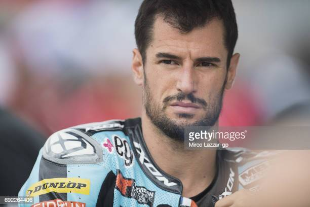 Simone Corsi of Italy and Speed Up Racing prepares to start on the grid during the Moto2 race during the MotoGp of Italy Race at Mugello Circuit on...