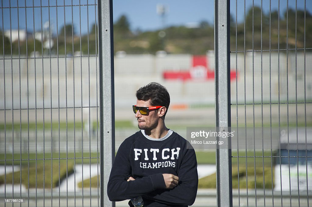 Simone Corsi of Italy looks on in pit during the MotoGP Tests in Valencia - Day 2 at Ricardo Tormo Circuit on November 12, 2013 in Valencia, Spain.