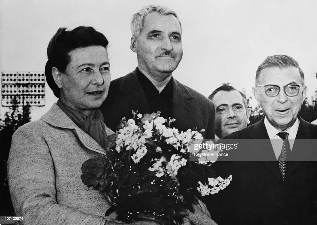 Simone De Beauvoir And Jean Paul Sartre Welcome By The Writer Constantin Simonov At Moscow In Russia On June 6Th 1962