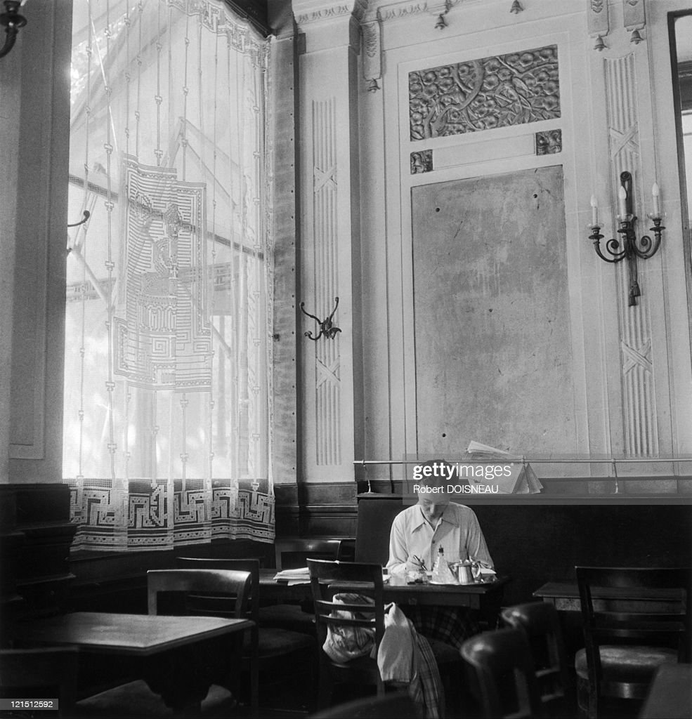 Simone De Beauvoir At The Deux Magots, Saint-Germain Des Pres In 1944, Paris