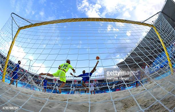 Simone del Mestre and Dario Ramacciotti of Italy in action during the Men's semi final match between Italy and Switzerland during day fifteen of the...