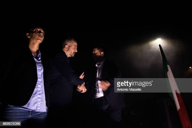 Simone Di Stefano Casapound farright movement greetings Luca Marsella and Carlotta Chiaraluce during the closing act of the electoral campaign for...