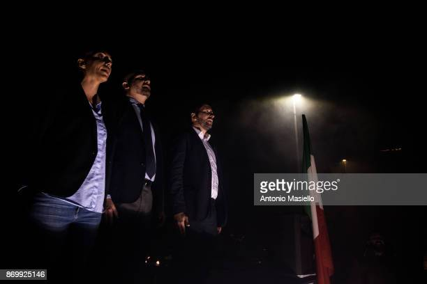 Simone Di Stefano Casapound farright movement Luca Marsella and Carlotta Chiaraluce sing the hymn of Italy during the closing act of the electoral...