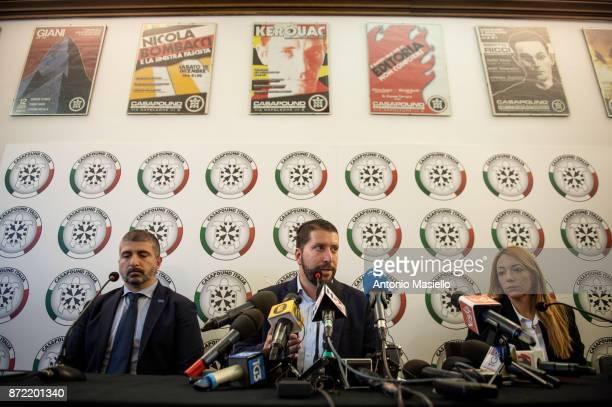 Simone Di Stefano Luca Marsella and Carlotta Chiaraluce speak during a press conference on November 9 2017 in Rome Italy CasaPound farright political...