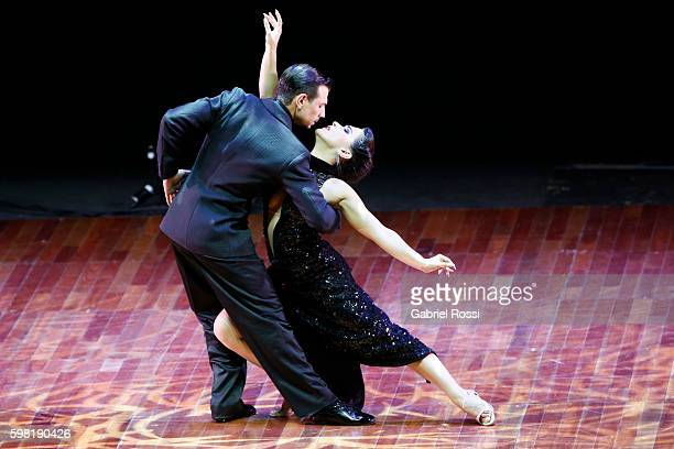 Simone Facchini and Gioia Abballe of Italy dance during the Stage Tango Final as part of Buenos Aires Tango Festival World Championship 2016 at Luna...