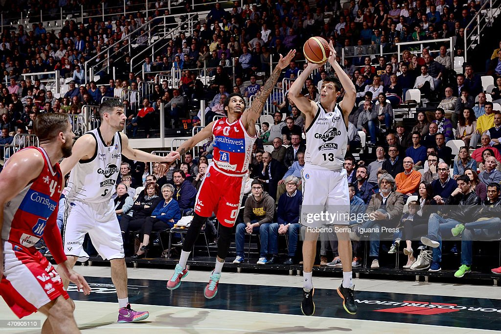 Simone Fontecchio of Granarolo competes with LaQuinton Ross of Consultinvest during the LegaBasket match between Virtus Granarolo Bologna and...