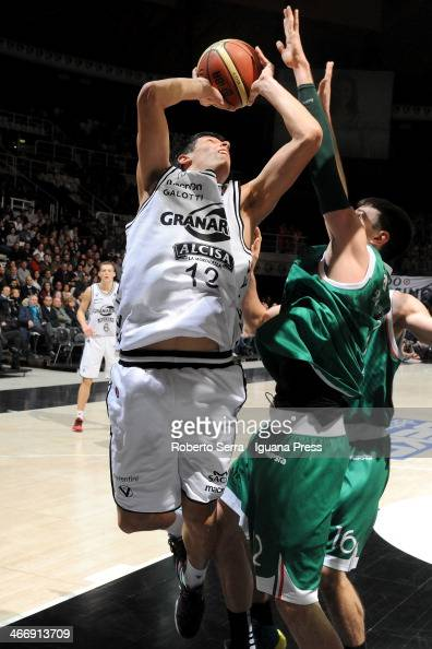 Simone Fontecchio of Granarolo competes with Matt Janning during the LegaBasket Serie A1 match between Granarolo Bologna and Montepaschi Siena at...