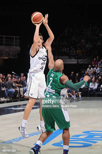 Simone Fontecchio of Granarolo competes with Sundiata Gaines of Sidigas during the LegaBasket serie A1 match between Virtus Granarolo Bologna and...