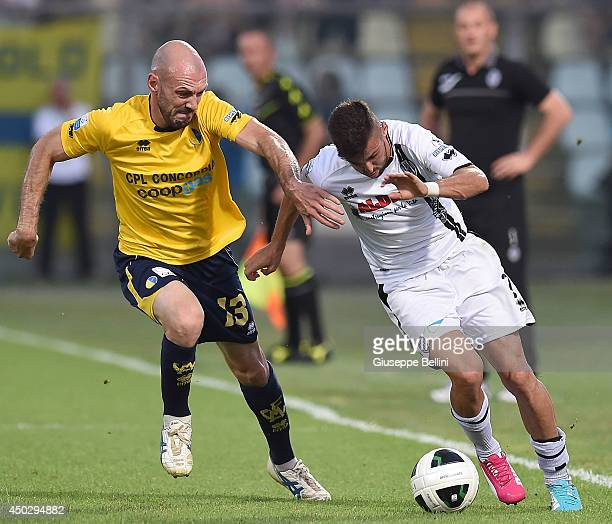 Simone Gozzi of Modena and Marco D'Alessandro of Cesenal in action during the Serie B playoff match between Modena FC and AC Cesena at Alberto...