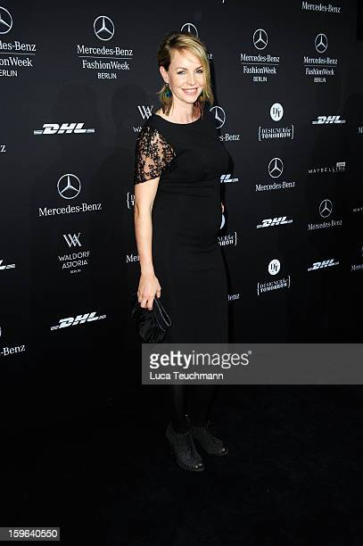 Simone Hanselmann attends Guido Maria Kretschmer Autumn/Winter 2013/14 fashion show during MercedesBenz Fashion Week Berlin at Brandenburg Gate on...