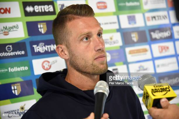 Simone Iacopini speaks during the press conference at the end of the preseason friendly match between Parma Calcio and Settaurense on July 26 2017 in...